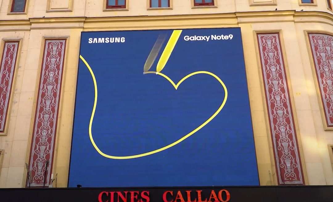 SAMSUNG ANNOUNCES THE GALAXY NOTE9 LAUNCH WITH A SYNCHRONISED ACTION ON CALLAO'S SCREENS